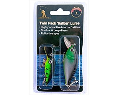 2 x Fishing Plug Rattler Pike Perch Spinner Spoon Lure Set Deep & Shallow Divers by Roddarch