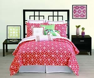 Trina Turk 3-Piece Trellis Comforter Set, King, Coral