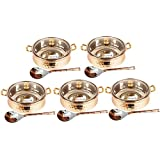 Set Of 5 Prisha India Craft ® High Quality Handmade Steel Copper Casserole With Lid And Serving Spoon - Set Of...