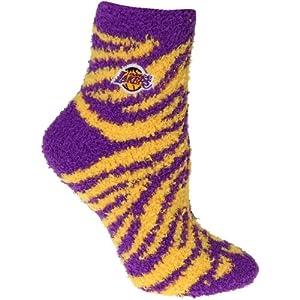 Los Angeles Lakers Zebra Stripe Ladies Fuzzy Sleep Sock by Tribeca