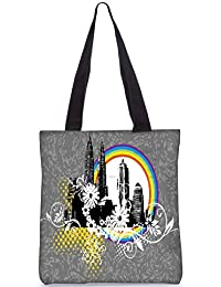 Snoogg Black Skyscraper With Floral Pattern Fashion Printed Shopping Shoulder Lunch Tote Bag For Women