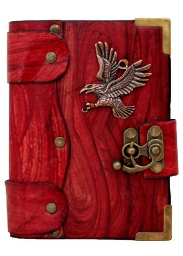handmade-flying-eagle-pendant-on-a-red-leather-journal-with-lock-sketchbook-leatherbound-notebook-po