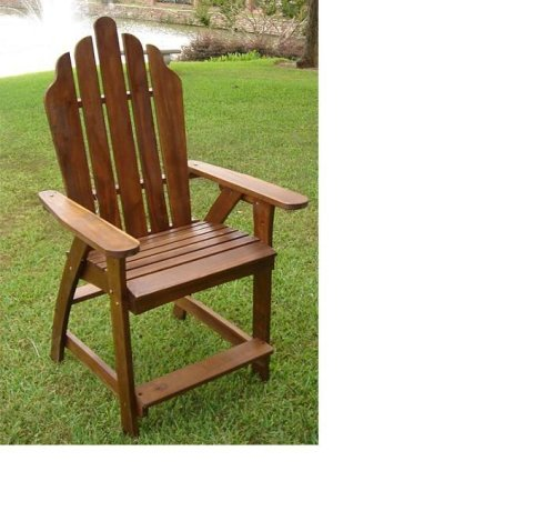 Outdoor Acacia Adirondack Bar Stool / Chair-StainedE