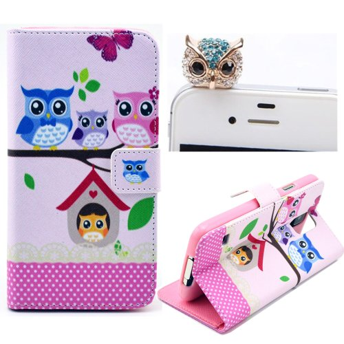 Vandot Phone Mobile Accessory 2in1 Cartoon Owl Family For Samsung Galaxy Note 3 N9000 1x Folio Book Night Owl Flower PU Leather Cover Case Soft Silicone TPU Back Skin Shell + 1x Metal Owl Diamond Anti Dust Plug Earphone Jack Cap Rhinestone- Purse with Card Money Slots Stand Artificial Synthetic Leather Wallet for Lady Woman- Polka Dot Green White Pink Blau