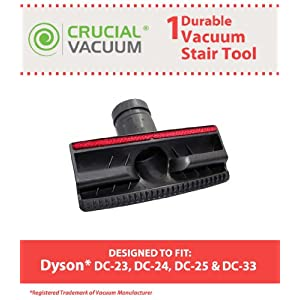 1 Dyson DC23, DC25, DC24, DC27, DC28, DC33, DC41 Replacement Stair and Upholstery Furniture Tool With Red Pet Hair Strips, Generic. Fits Dyson Part Numbers, 915100-01 and 915100-02, Designed and Engineered by Crucial Vacuum