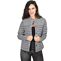 CurVy Q Women Cotton Jacket (CQ-JKT-00101Black & WhiteSmall_Black & White_Small)