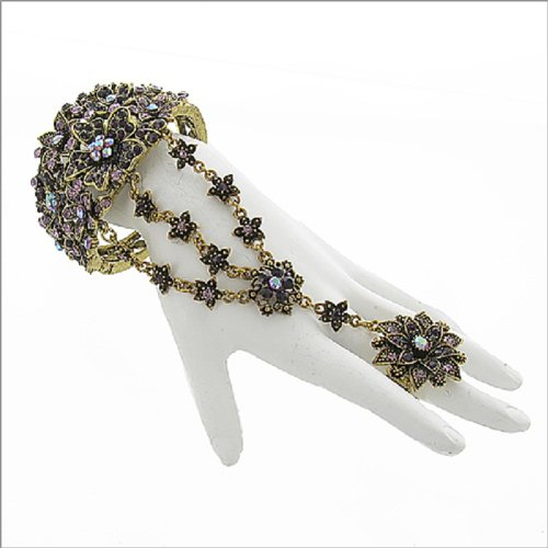Stone Floral Design Ring & Bracelet #041787