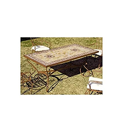 Mesa de jardín Marbella - Blanco 36, Pie de mesa con tapa de cristal