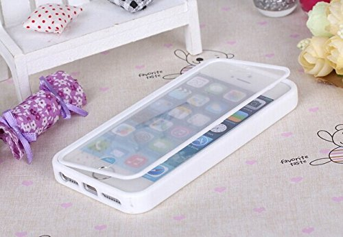Nancy'S Shop Apple Iphone 5 5S Case Cover Flip Up-Down Open Tpu Gel Shockproof Hybrid Case For Apple Iphone 5 And 5S. Back And Front Protection (White For Apple Iphone 5 5S Case)