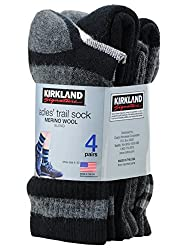 Kirkland Signature Womens Trail Sock Pack of 4 One Size Charcoal HTR