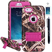 buy Iphone 6 6S Case, True Color® Heavy Duty Rugged Straw Grass Camo Real Tree Shockproof Defender Case Hard Plastic Box + Soft Silicon Cover + Retractable Kickstand + Free Stylus And Screen Protector For Iphone 6 (4.7) - Pink