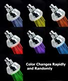 New Stylish LED Color Changing Colorful Chrome Wall Mount Removable Adjustable Fexible Efficiency Modern Portable Detachable Detached Bathroom Hotel Spa Bath RV Light Showerhead Shower Head Heads BA1006C