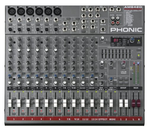 Phonic AM642D 6 Mic/Line 4 Stereo 2 Group 9-Band GEQ 100+ Tap EFX Mixer