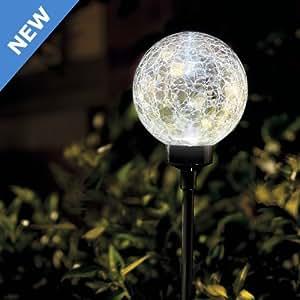 Large White Border Ball Cracked Outdoor Garden Solar Light