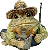 """Homestyles Toad Hollow #94014 Figurine Angler Fisherman with Fish in Pail, Fishing Pole, Hat with Lures Sports Character Garden Statue Large 8.5""""h Toad Figure Natural Brown"""
