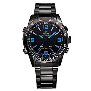 Mens Black Watch Metal Band LED Dual Time Analog Digital Display Blue Markers WH-140