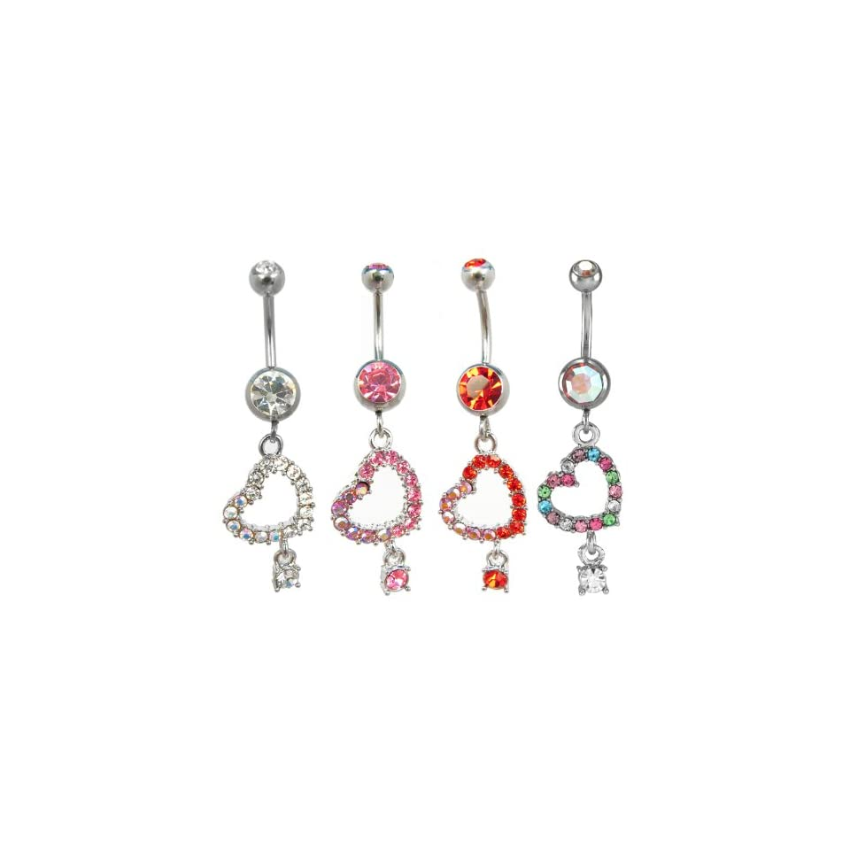 Pink Crystal Cut Out Star with Dangling Stone Belly Ring   14g (1.6mm), 3/8 (10mm) Length   Sold Individually
