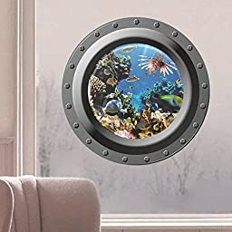 EachWell Creative 3D Seabed Sceneries Wall Stickers Kid\'s Bedroom Submarine Seascape Decorative Wallpaper Removeable Art Decor Decal Underwater World