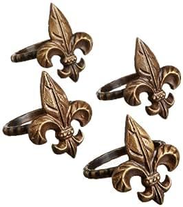 DII Napkin Rings Set of 4, Fleur De Lis