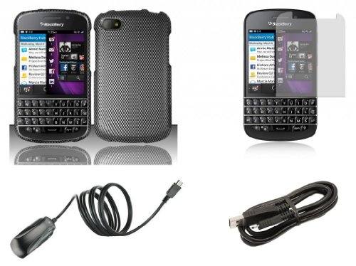 Blackberry Q10 - Accessory Combo Kit - Carbon Fiber Design Shield Case + Atom Led Keychain Light + Screen Protector + Micro Usb Cable + Wall Charger