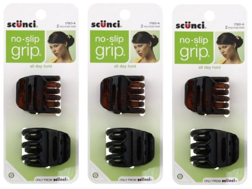 Scunci No-Slip Grip Jaw Clips, 3.5cm, 6 Count (Jaw Clips For Women compare prices)