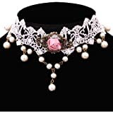 Yazilind Jewelry Nice White Lace Pink Rose Retro Metal Venetian Pearl Adjustable Collar Necklace