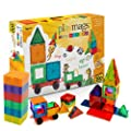 Playmags Award Winning Clear Colours Magnetic Tiles Deluxe Building Set with Car Includes Free Bonus Bag (100-Piece)