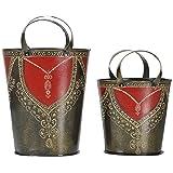 Pushpa Overseas Hand Painted Metal Décor Buckets - Set Of 2 (16 Cm X 14 Cm X 33 Cm; 14 Cm X 12 Cm X 27 Cm)