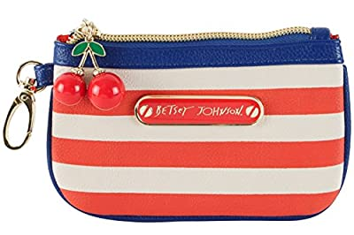 Betsey Johnson Americana Zip Coin Wallet Small Wristlet - Blue