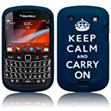 BLACKBERRY BOLD 9900 KEEP CALM & CARRY ON LASERED SILICONE SKIN CASE / COVER / SHELL - BLUE/WHITEby TERRAPIN