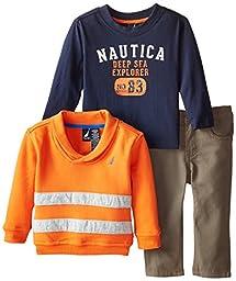 Nautica Baby Boys\' 3 Piece Fleece Long Sleeve Tee Denim Pant Set, Orange, 18 Months