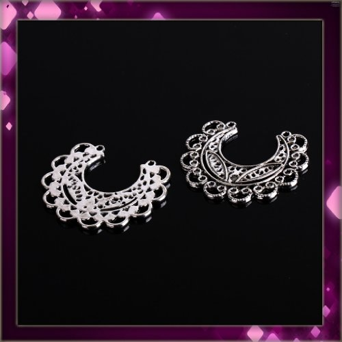 Hot White Heart Circle Black Cluster Black Metal Earrings 1 pair P1100