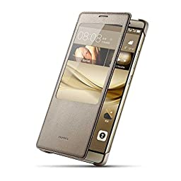 Huawei Ascend Mate 8 Case, Premium Leather Cover with View Window (S View) Protective Smartphone Flip Cover Folio Case (Ultra Thin Slim)(Perfect Fit) (Brown)