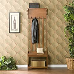 Wood Hall Tree Coat Rack Entry Way Bench