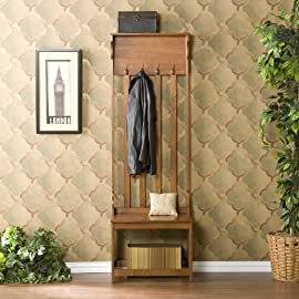 FurnitureMaxx Wood Hall Tree Coat Rack Entry Way Bench : Coat Rack ...