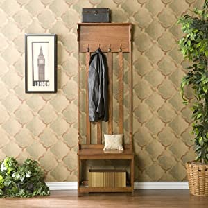 Amazon.com - Wood Hall Tree Coat Rack Entry Way Bench - Coat Stands