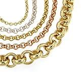 Chaine Rolò 18ct Or Doublé, 14 mm Longueur 60 cm, femme homme bijoux collier cadeaux de italien usine tendenze