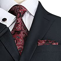 Landisun 32E Red Black Paisleys Mens Silk Tie Set: Tie+Hanky+Cufflinks 3.25 Inch