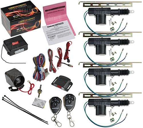 Crimestopper Sp-101 Car Security Alarm & Keyless Entry System With (4) Car Power Door Lock Actuator Motors