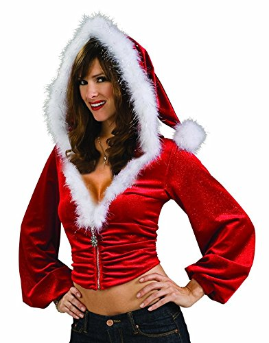 Womens Sexy Christmas Mrs Santa Claus Plush Red Zip Up Hoodie Costume Accessory