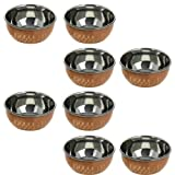 Dinnerware Accessories Copper And Stainless Steel Dessert Bowl, Set Of 8, Diameter 8.5 Cm
