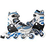 Ancheer Kids Small Inline Skates Adjustable Durable PU Wheels Size 10J to Size 6 Rollerblades Perfect For First Skates