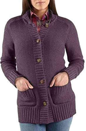 Carhartt 100043 Women's Tomboy Cardigan Sweater Grape Heather X-Small