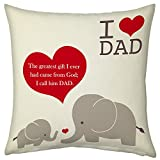 I Love Dad Relation Printed Text Cushion For Dad Papa Birthday Anniversary