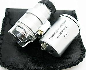 Mini Microscopio Monoculo con Luz Led y Lupa de 60 Aumentos 2150