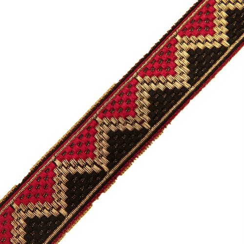 Red Black Jacquard Ribbon Trim Decorative Border Lace Sewing Craft India 4.5Yd