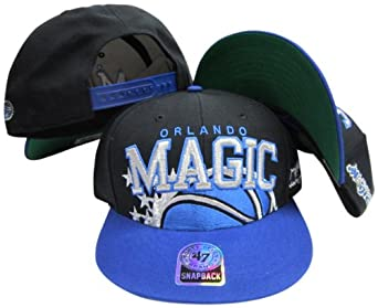 Orlando Magic Black Blue Big Logo Snapback Adjustable Plastic Snap Back Hat Cap by Twins
