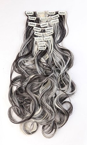 [24 Inches(61cm) 8pcs Long Full Head Clip in Hair Extensions Extension Sexy Lady Fashion Choice Curly natural black & bleach] (Sexy Glamour Wig In Auburn)