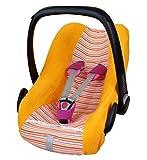 ByBoom® - Funda de verano / funda hecha de tela de toalla, funda universal para portabebés (Moisés), asiento de coche, por ejemplo, Maxi-Cosi CabrioFix, Pebble, City SPS, Color:Naranja/Rayas Naranja