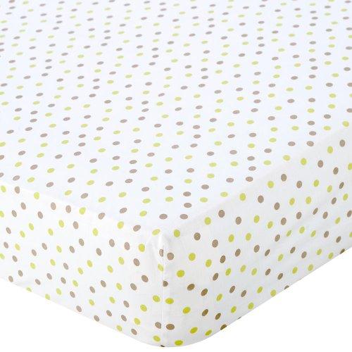 Babies R Us Percale Crib Sheet - Green/Mocha Dot - 1